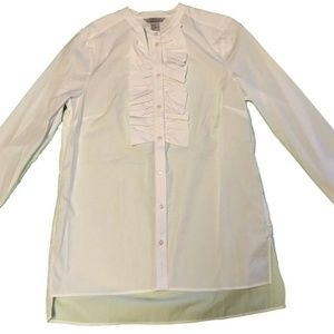 H & M Women's Long Sleeve Ruffle Front Blouse 10